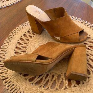 Vince Camuto camel mule heels